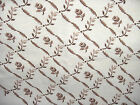 FRENCH WOOL TAPESTRY TAPESTRIES FABRIC CREAM ROSE BROWN FLOWERS HEIRLOOM 24 X 24