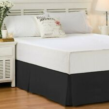 Whole Home King Navy Blue Bed Skirt Cotton 210 Thread Count Sateen Pleated