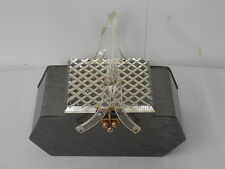 1950's Vintage Gray Lucite Box Purse with Clear Carved Lid