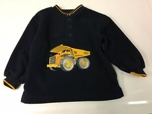 Boy's Navy Blue Long Sleeve Sweater w/ Construction Truck 3 Button Front Size 4