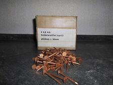 50 Kupfer Schieferstifte  2,0 x 20 mm Dachpappnägel Breitkopfstifte