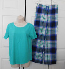 SO Women's Green Knit Top Blue Green Pink Flannel Pants 2pc Set Pajamas Size S