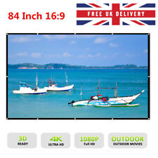 84 Inch 16:9 Collapsible Projector Cloth Screen Home Outdoor With Hanging Hole