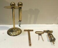Various Vintage Lot Of 5 MCM Barware Cocktail Utensil Gold Corkscrew Wine Puller
