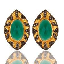 2.89 Ct. Pave Diamond Green Onyx Gemstone 925 Sterling Silver Earrings Jewelry
