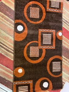 """TOP QUALITY HEAVY DUTY RUG BROWN/ORANGE COLO.80x150cm (2'6""""x5'0"""") EASY TO CLEAN"""