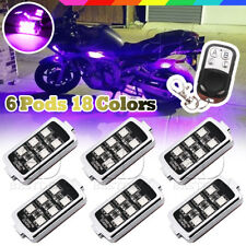 36 LED Motorcycle 6 Pod Lights Ground Remote CTL Effect Kit For Honda Gold Wing