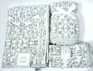 PERI HOME GRAY,WHITE SCROLL FLORAL BATH,2 HAND, OR 2 FINGER TIP TOWEL