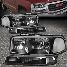 For 99-07 Gmc Sierra Yukon Xl Black Housing Clear Corner Headlight Bumper Lamps