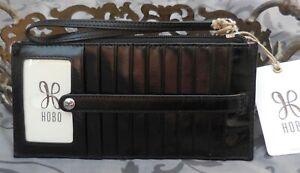 Hobo International ~KIMI Leather Card Stacker ID Wristlet Wallet~BLACK~NWT $68
