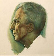 FLOYD JAMES TORBERT Portrait Painting of Norman Rockwell AUTOGRAPHED BY ROCKWELL