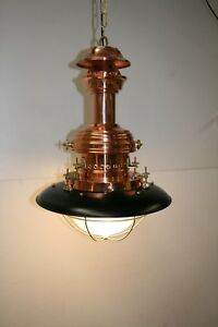 Ceiling Light. Medium Size Industrial Copper, Brass & Steel With Glass Shade