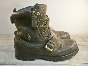Vintage Polo Ralph Lauren Andres II Brown Harness Biker Leather Men's Boots 8.5