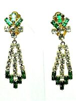 True Vintage sparkly clear & green rhinestone dangle clip earrings 1950s 6cm