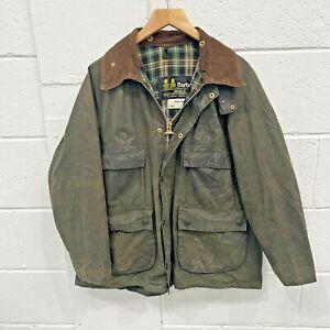 Barbour Bedale Wax Jacket Cotton Green Coat C 40 Inches Corduroy Collar Vintage