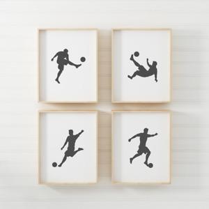 Set of 4 Footballer Poster Print Picture Boys Girls Kids Playroom A4 PR176