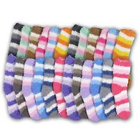 Super Soft Fuzzy Kids Socks Stripes Warm Cuddly Winter Fit Children