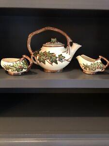 McCoy Vintage Art Pottery Ivy Leaf Pattern Branch Handle Teapot W/Creamer & Suga