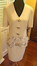 Gai Mattiolo Vintage Couture Ivory Acetate Blend Skirt Suit Floral Appliques-46