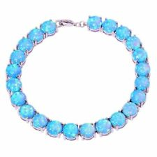 EXQUISITE  BLUE FIRE OPAL SILVER BRACELET 7""