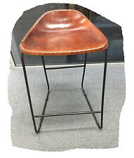 Freddy Rustic Light Brown Leather 640mm Bar Stool on Black Steel -  BRAND NEW