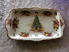 "Royal Albert Old Country Roses ""Christmas Magic""  Sandwich Trinket Snack Tray"
