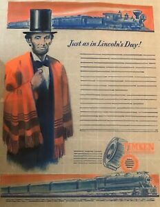 ABRAHAM LINCOLN ADVERTISING TIMKEN BEARINGS Advertising Artist Proof 1 OF KIND