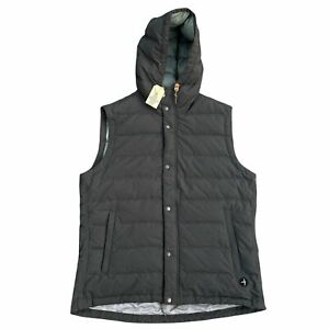 Relwen Hooded Down Vest Full Zip Charcoal Grey Large $298