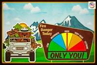 FIRE DANGER WARNING SIGN GAUGE ADJUSTS! SMOKEY BEAR JEEP U.S. FOREST SERVICE