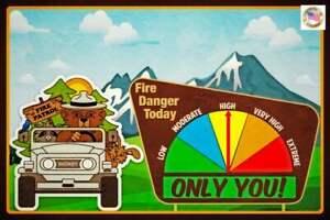 FIRE DANGER WARNING SIGN GAUGE ADJUSTS! SMOKEY BEAR JEEP U.S. FOREST SERVICE