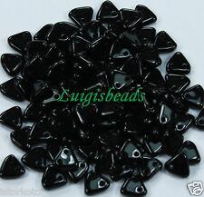 10g Jet Black CzechMates 2-Hole Triangle Glass Beads 6mm