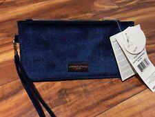 NWT Adrienne Vittadini Snap Card Wallet Wristlet Navy Velvet RFID Protection NEW