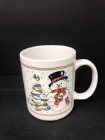 Vintage Coffee Mug - Snowman - Christmas Tree Holiday 12OZ