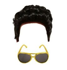 CHILDRENS KIDS BOYS ELVIS TEDDY BOY WIG & *GOLD* SUNGLASSES FANCY DRESS COSTUME
