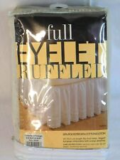 "NIP Linens & Things Full Bed Skirt Dust Ruffle Eyelet Ruffled Beige 14"" Drop"