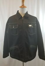 Mens  Black ROCA WEAR Jean Jacket Size 2XL Quilted Lining 4 Pockets