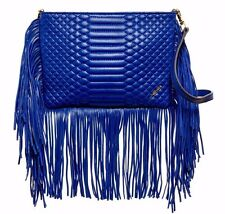 NWT BRIAN ATWOOD LEATHER ALANDON QUILTED FRINGE ZIP CROSS BODY BLUE $168.