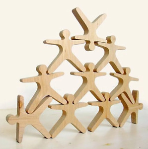 10 Pcs Balancing Acrobats People Balance Stacking Wooden Educational Travel Toy