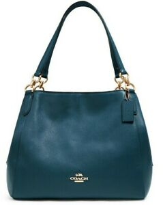 ⭐️ NWT Coach Hallie 80268 Pebbled Leather Shoulder bag in Peacock