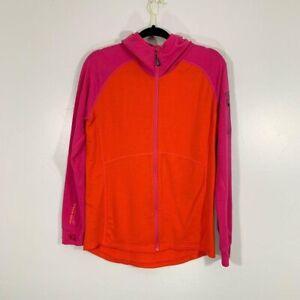 Mona Royale Pink Orange Merino Wool Long Sleeve Spell Out Hoodie Zip Up Jacket