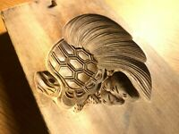 亀 JAPANESE KASHIGATA WOOD CAKE turtle HAND CARVED VINTAGE PLUM WOOD