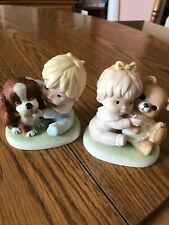 Vintage Homco Boy Dog Girl Bear Bisque Porcelain Figurines #1424 Home Interior