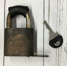 Vtg Ford Motor Co. Spare Tire Brass Padlock Lock w/Key 1970s Bronco Accessory