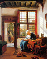 Oil painting Abraham van Strij - Reading old Woman at Window with cat on canvas