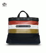 Ghurka Large Weekender Black Twill Leather Canvas Red Stripe Women's Tote Bag