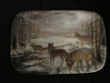 Wolf collector plate Moonlit Crossing Mary Pettis timber wolves