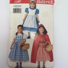 Butterick 4600 Childs Alice Dorothy Oz Red Riding Hood Costume Pattern Sz 2-6X