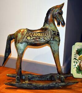 "ROCKING HORSE LRG WOOD ORNAMENT SHABBY CHIC VNTG STYLE DISTRESSED HANDMADE 21""HR"