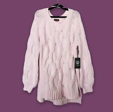 Cable Knit Sweater Large Womens L/G Pink VINCE CAMUTO Pullover Opal Rose NWT