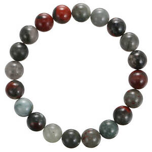 """African Bloodstone Bracelet Smooth Round Size 8mm 10mm 7.5"""" Length"""